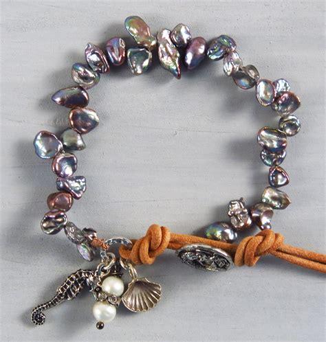 Handmade Charms - handmade boho blue keishi pearl bracelet handmade jewelry