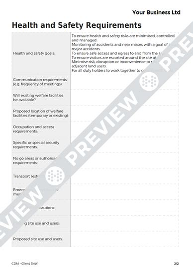 cdm health and safety file template client brief cdm template haspod