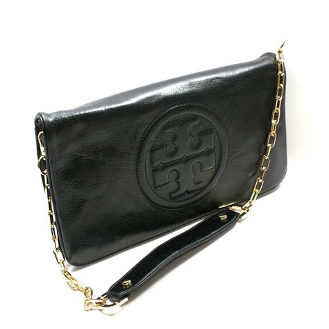Tory Burch Black Leather Bombe Reva Clutch/ Shoulder Bag #90009600   Tory Burch 90009600