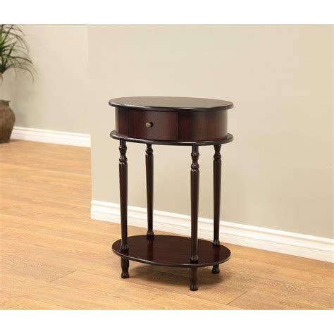 Megahome Espresso Storage Side Table H 114 The Home Depot