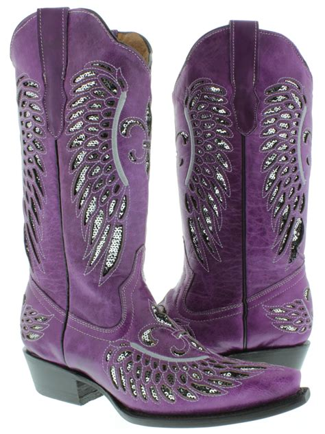 s purple leather sequins cowboy boots western