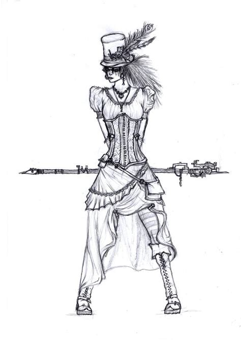 drawn steampunk pencil and in color drawn