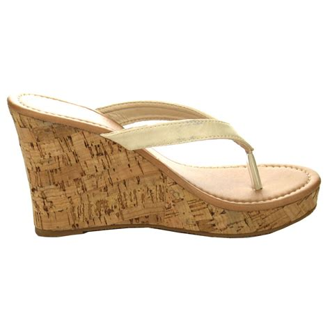 flip flop wedge sandals fashion focus ea45 womens platform flip flop cork wedge