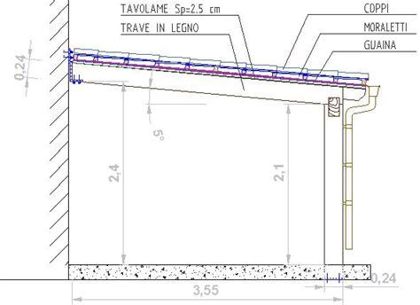 disegno tettoia in legno dimensionamento pensilina in acciaio terminali antivento