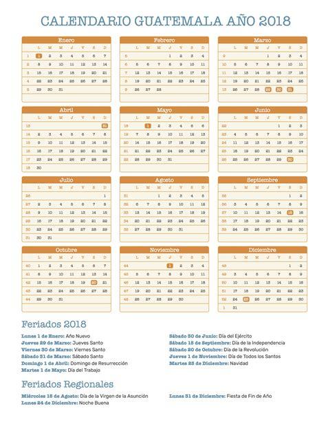 Guatemala Calendã 2018 Calendario Guatemala A 241 O 2018 Feriados