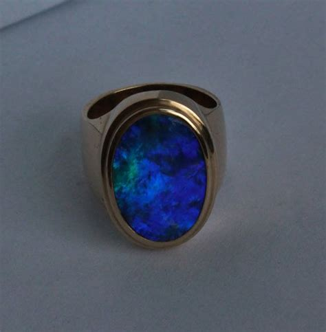 black opal mens ring black opal in 14k yellow gold mens ring