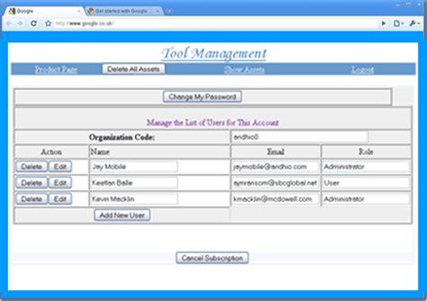 tool management web app screen shoots intelligent loop