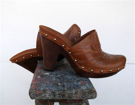 wooden heel clogs for vintage wooden heel studded clogs size 8m