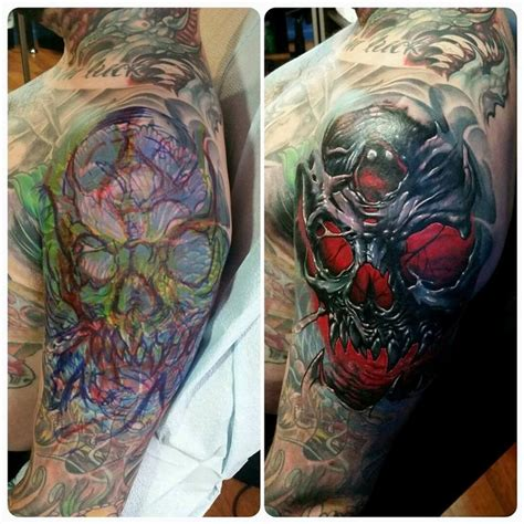 tattoo cover up questions freehand result skull cover up with red by toxyc