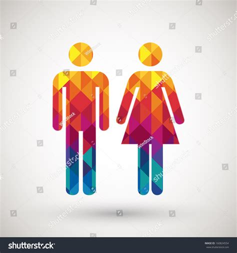 man and woman bathroom sign man woman restroom sign with colorful diamond vector