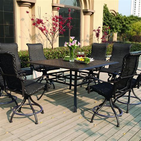 Bar Height Patio Furniture Sets Darlee 9 Resin Wicker Counter Height Patio Dining Set With Swivel Chairs