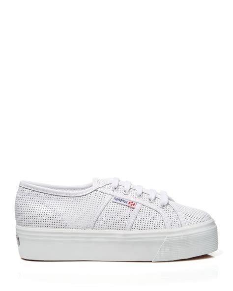 superga white platform sneakers superga lace up platform sneakers perforated leather in