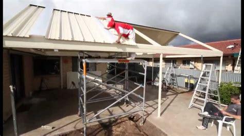 stratco outback gable clearspan veranda patio carport   installation youtube