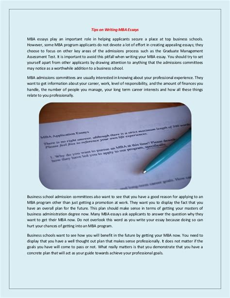 Mba Essay Writing Tips by Tips On Writing Mba Essays