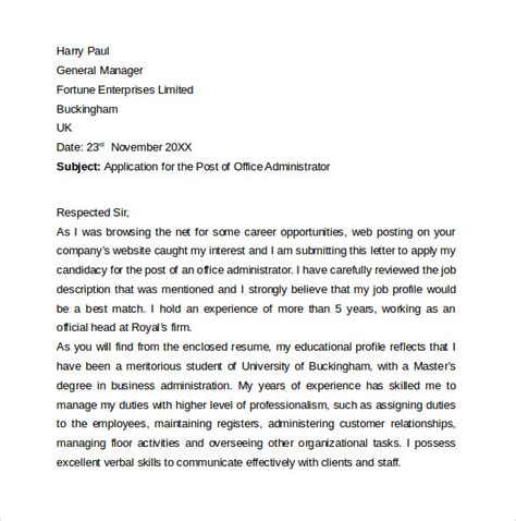 Department Administrator Cover Letter by Entry Level Cover Letter 7 Free Sles Exles Formats
