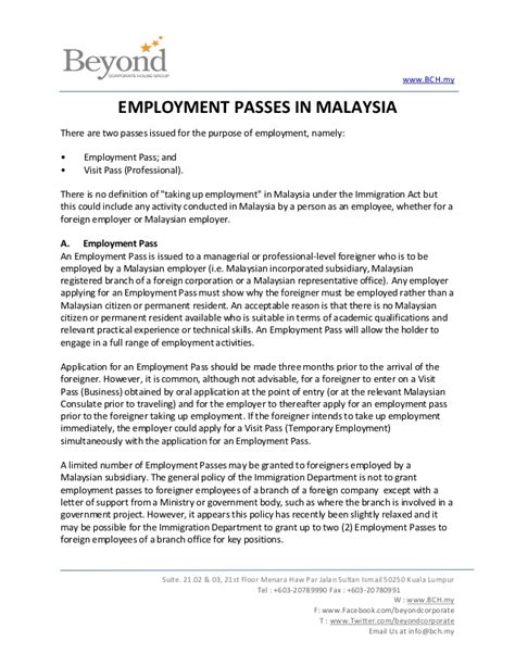 Employment Letter For Malaysia Visa Sle Cover Letter Sle Of Cover Letter For Application In Malaysia