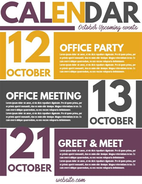 corporate newsletter event calendar flyer template