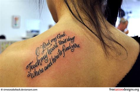 bible verse tattoo on shoulder blade bible phrase tattoo on a girl s shoulder tattoos