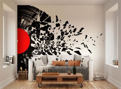 Musical Wall Stickers ohpopsi smashed vinyl record music wall mural