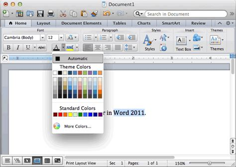 ms word 2011 for mac change font color