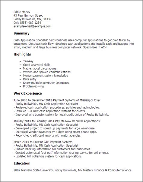 application resume template professional application specialist templates to
