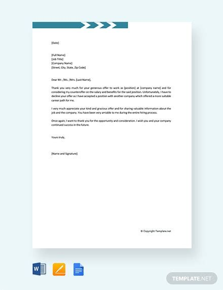 job refusal letter employee template word