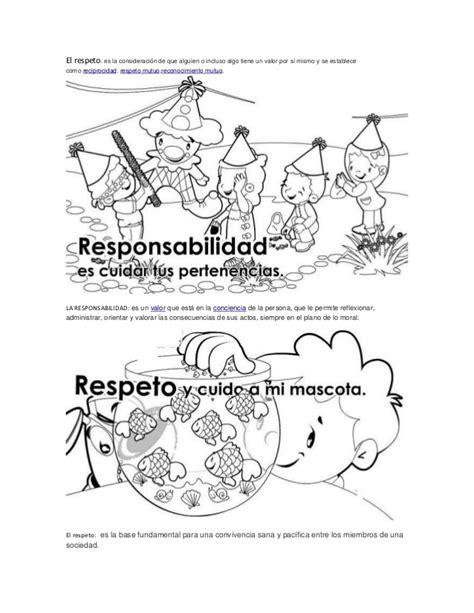 imagenes para colorear sobre los valores los valores y sus dibujos