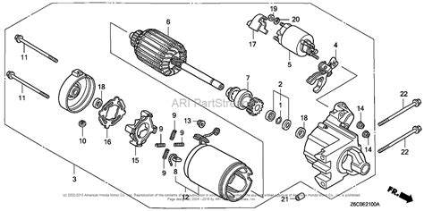 starter motor parts diagram honda engines gx620r1 qab engine jpn vin gcark 1000001
