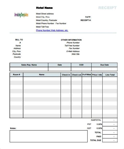 Does Macs Receipt Templates hotel invoice receipt template document invoice template