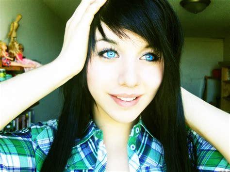 black hair and blue eyes women blue eyes plaid shirt faces black hair upscaled