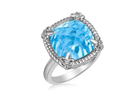 Ring Blue Topaz Sky sky blue topaz and white sapphires fleur de lis ring in