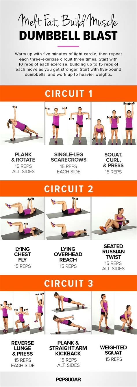 printable workout plan to lose weight and tone up printable workout full body dumbbell circuit popsugar