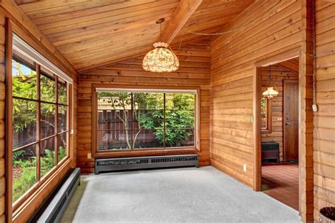 Log Sunrooms Waterfront Panabode Log Home Rustic Sunroom Seattle