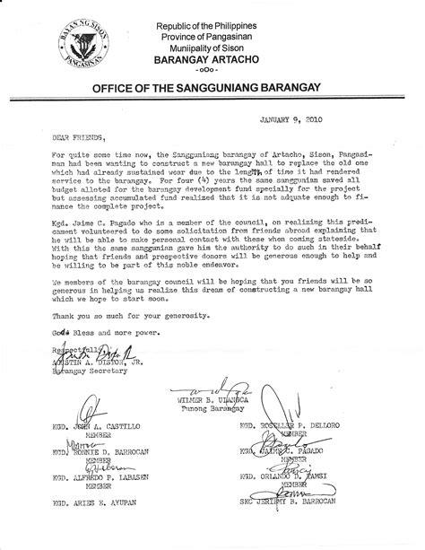 Letter For Barangay Project Artacho Builds A New Barangay Sagunto