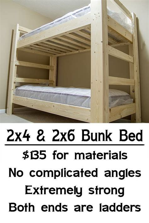 simple bunk bed plans easy strong cheap bunk bed wood working pinterest