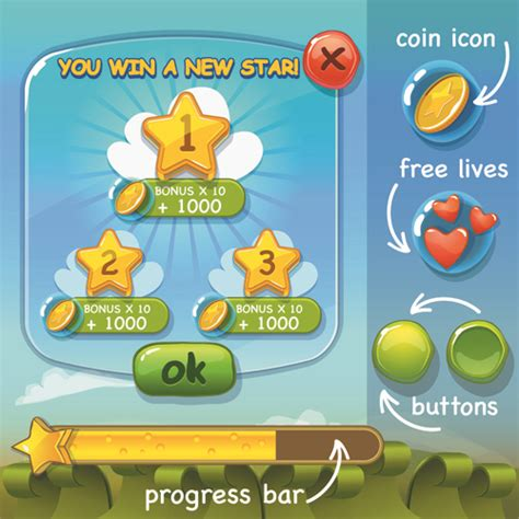 design elements in games cute game button and other design elements free vector in