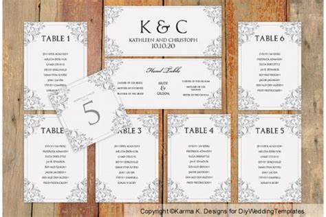 Wedding Seating Chart Template Download Instantly Edit Yourself Nadine Gray Microsoft Wedding Seating Chart Template Microsoft Word