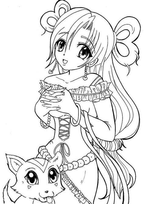 anime princess   cat coloring page coloring sky