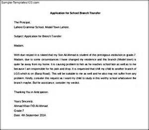 Application Letter Format For Transfer Application Letter For School Branch Transfer Sample