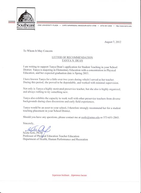 Recommendation Letter For Student From Dean Letters Of Recommendation Ms Dean