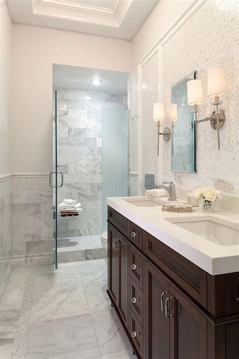 chocolate bathroom floating teak shower bench design ideas
