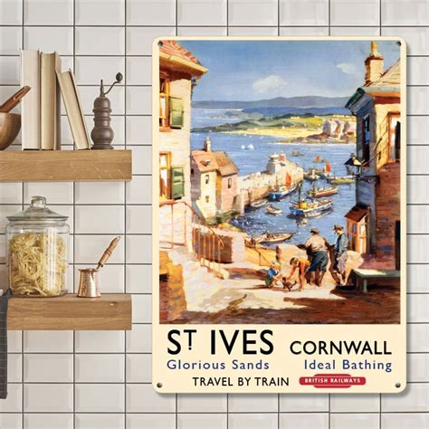 St Ives Travel Size st ives cornwall travel poster metal wall sign 3 sizes