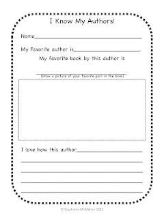 Author page and fiction non-fiction center worksheets