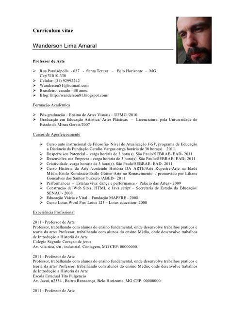 Modelo Curriculum Vitae Profesor Curriculum De Professor Atual