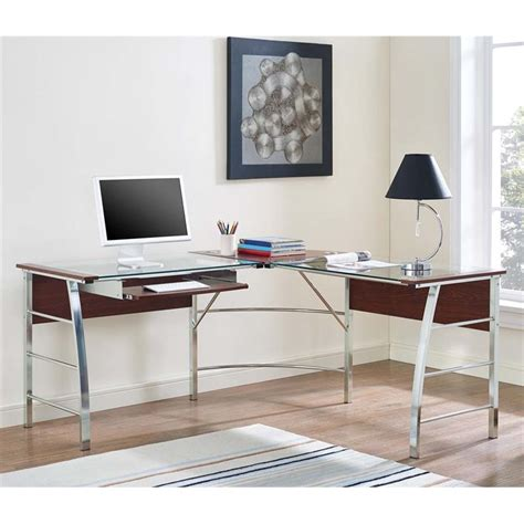 L Shaped Glass Top Desk Glass Top L Shaped Computer Desk In Cherry 9105296com