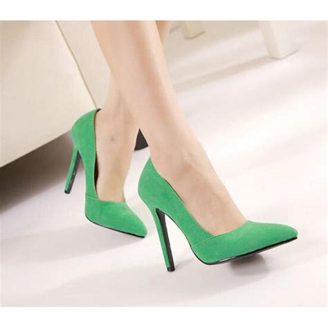 green suede high heel court shoes