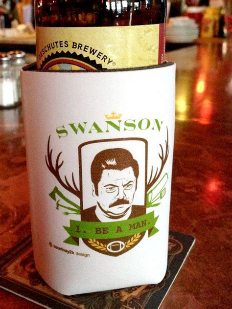 ron swanson 1 be a man beer coozie gift ideas