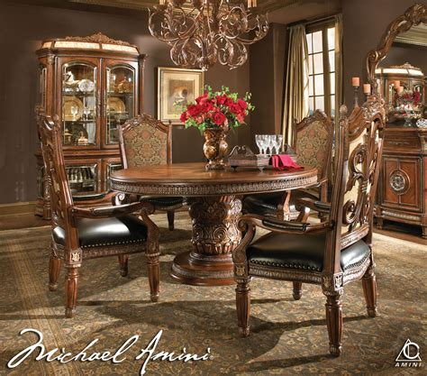 valencia antique style round table dining room set michael amini 5pc villa valencia round oval dining table
