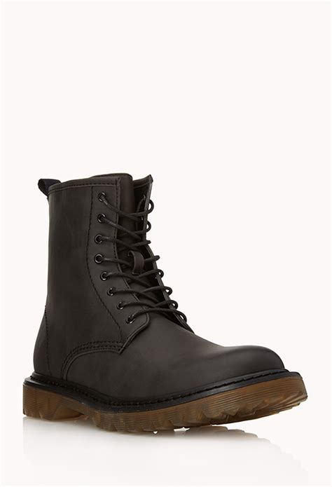 Boot Forever 21 Original lyst forever 21 retro combat boots in black for