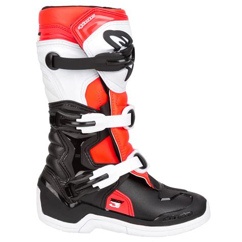 youth motocross boots 2018 alpinestars tech 3s youth boots black white red
